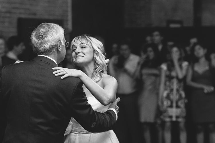 bride father dance black and white