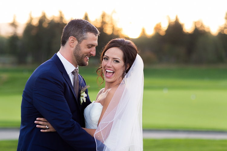 beautiful bride and groom at sunset at TPC Snoqualmie