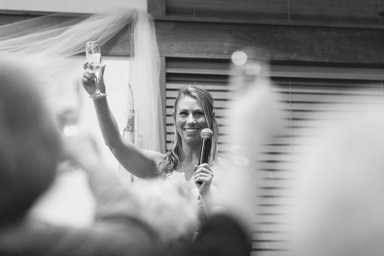 bridesmaid giving wedding reception toasts
