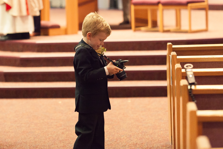 ring bearer at catholic ceremony
