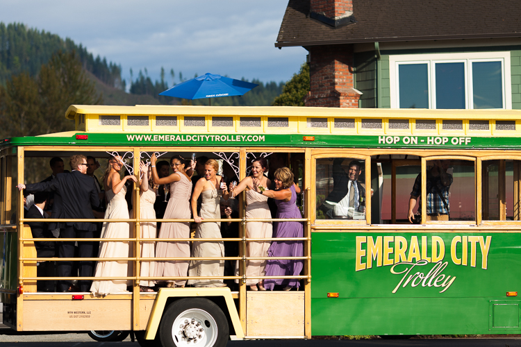 candid wedding photography on a trolley