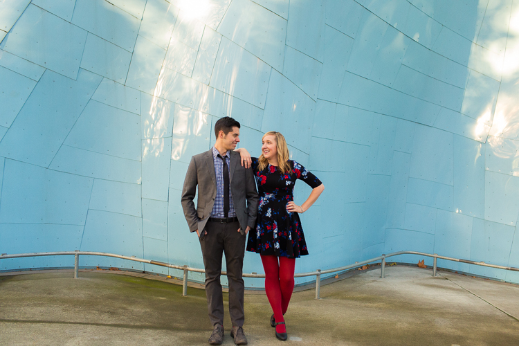 experience music project blue wall stylish couple