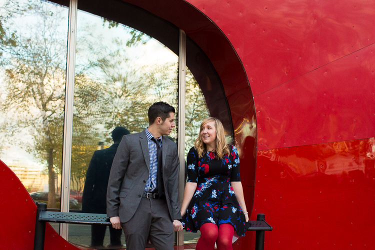 fashionable couple engagement photos at experience music project
