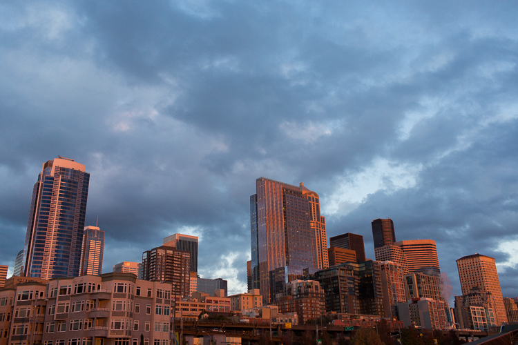 downtown seattle skyline at sunset