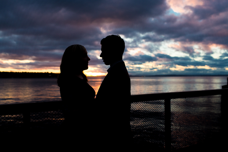 seattle waterfront sunset engagement session
