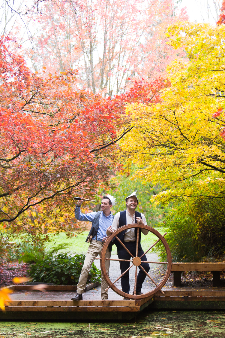 bright colorful fall leaves fun engagement session