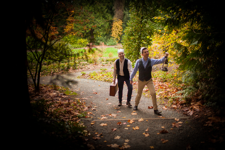 adventure engagement session in the woods