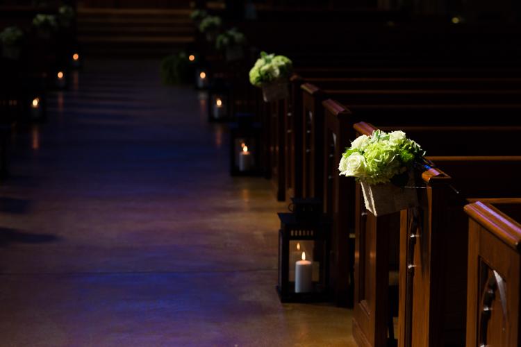 aisle floral arrangements and candles