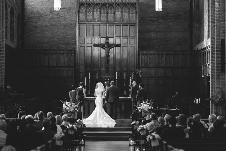 black and white catholic wedding photography